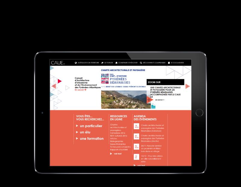 Le CAUE Pyrénées Atlantiques retient l'agence web REZO 21 pour la création de son nouveau site Internet, vue sur tablette