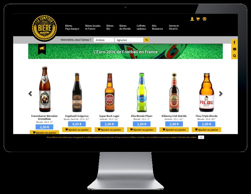 Le comptoir de la bière à Bayonne, nouvelle boutique en ligne réalisée par l'agence web REZO 21, vue sur grand écran