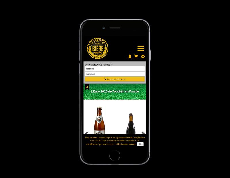 Le comptoir de la bière à Bayonne, nouvelle boutique en ligne réalisée par l'agence web REZO 21, vue sur mobile