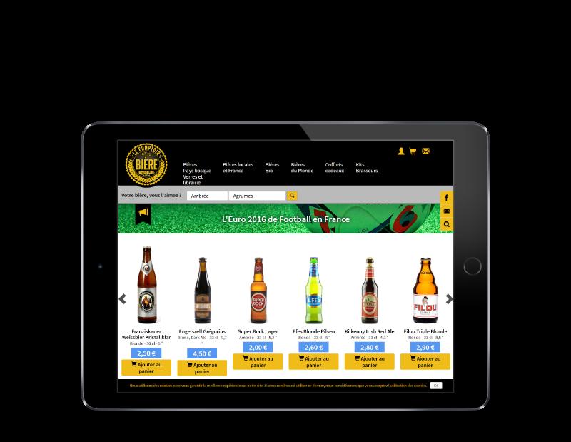 Le comptoir de la bière à Bayonne, nouvelle boutique en ligne réalisée par l'agence web REZO 21, vue sur tablette