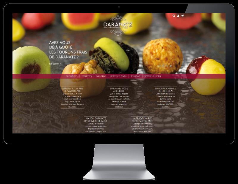 Daranatz, chocolatier à Bayonne et Biarritz confie la création de sa boutique e-commerce à l'agence web REZO 21 anglet, vue sur grand écran