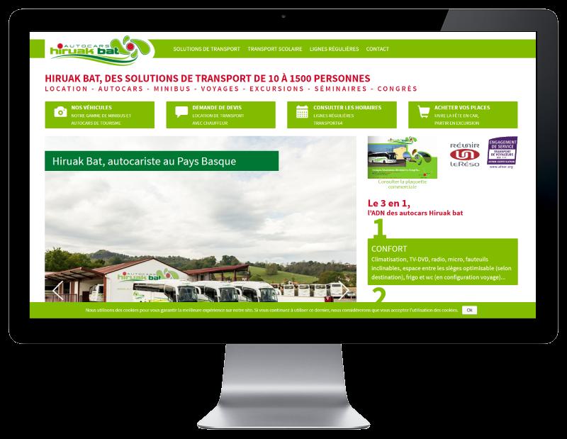 Autocars Hiruak Bat, Pays Basque, retient l'agence web REZO 21 pour la création de son site Internet avec boutique en ligne, vue sur grand écran