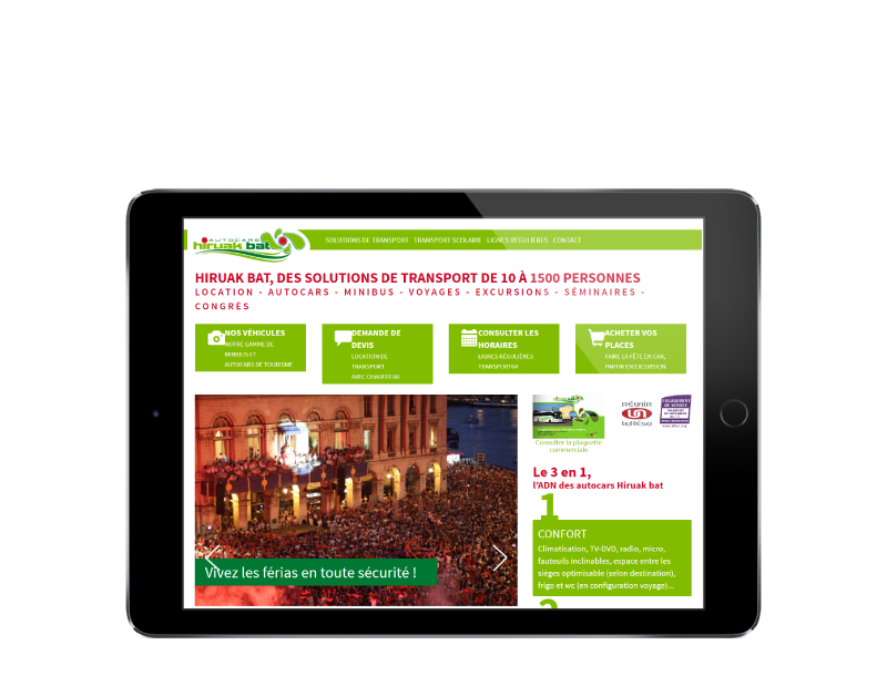 Autocars Hiruak Bat, Pays Basque, retient l'agence web REZO 21 pour la création de son site Internet avec boutique en ligne, vue sur tablette