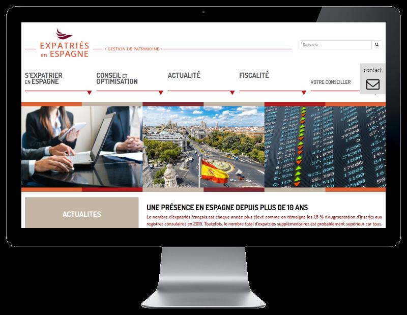 Expatriés Espagne, gestion du patrimoine des expatriés sélectionne l'agence web REZO 21 pour la création de son site Internet, vue sur grand écran