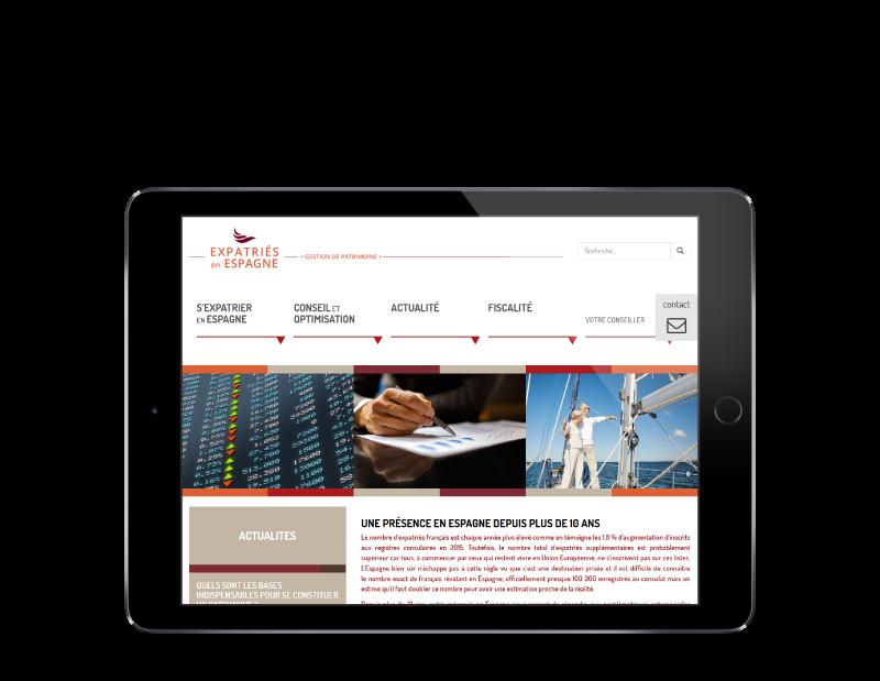 Expatriés Espagne, gestion du patrimoine des expatriés sélectionne l'agence web REZO 21 pour la création de son site Internet, vue sur tablette