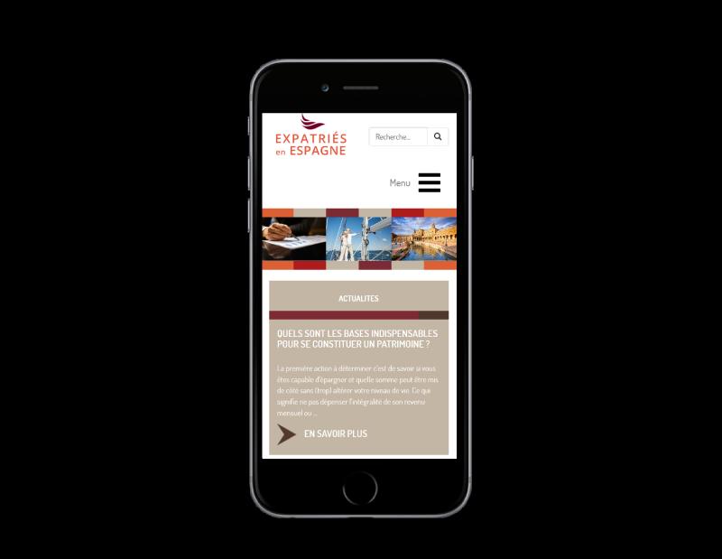 Expatriés Espagne, gestion du patrimoine des expatriés sélectionne l'agence web REZO 21 pour la création de son site Internet, vue sur mobile
