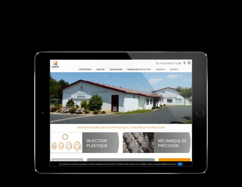 Boursier-Sogreg Pays Basque a choisi REZO 21, créateur de sites Internet à Anglet pour refondre son site Internet, vue sur tablette