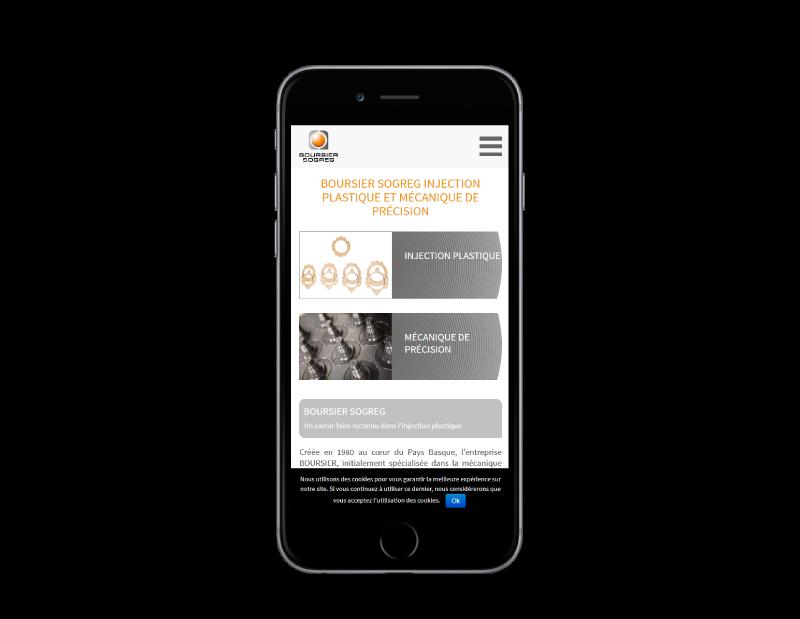 Boursier-Sogreg Pays Basque a choisi REZO 21, créateur de sites Internet à Anglet pour refondre son site Internet, vue sur mobile
