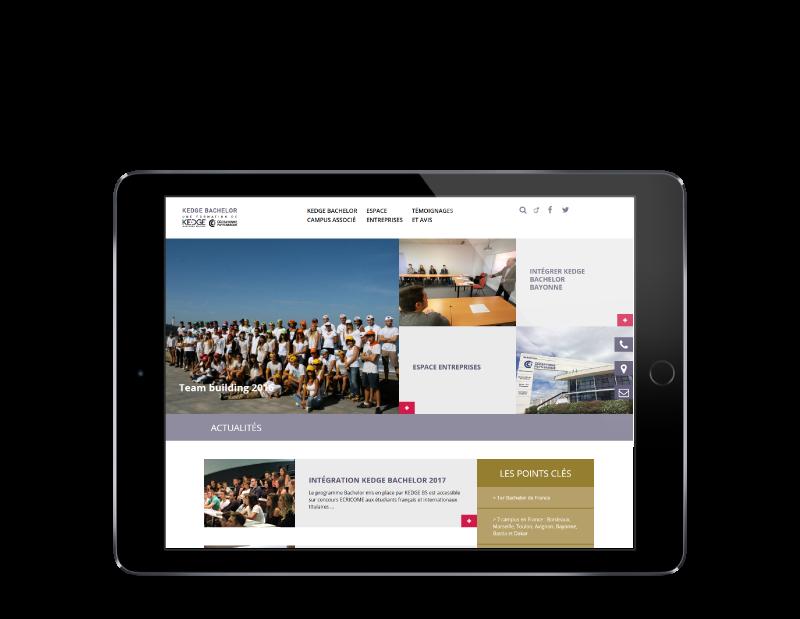 Kedge Bachelor Bayonne confie la refonte de son site Internet à l'agence web REZO 21 Anglet, vue sur tablette