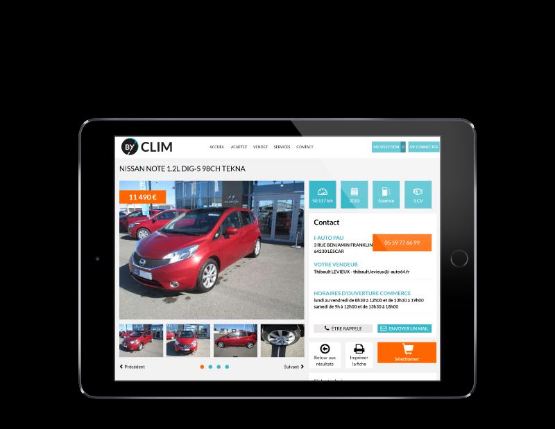 L'agence web REZO 21 Anglet développe le site d'annonces de véhicules d'occasion BYCLIM, vue sur tablette