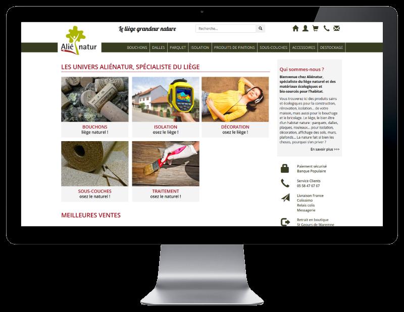 REZO 21, agence web à Anglet, développe la nouvelle boutique en ligne d'Alienatur avec WooCommerce, vue sur grand écran