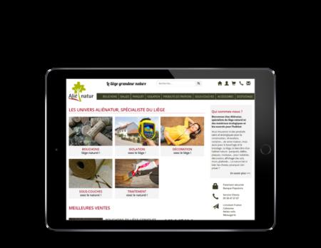 REZO 21, agence web à Anglet, développe la nouvelle boutique en ligne d'Alienatur avec WooCommerce, vue sur tablette