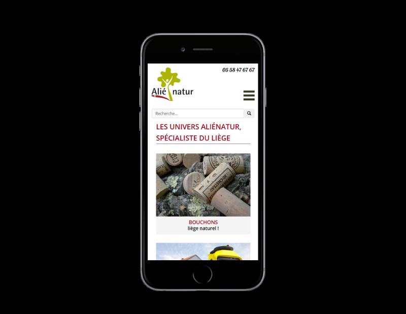 REZO 21, agence web à Anglet, développe la nouvelle boutique en ligne d'Alienatur avec WooCommerce, vue sur mobile