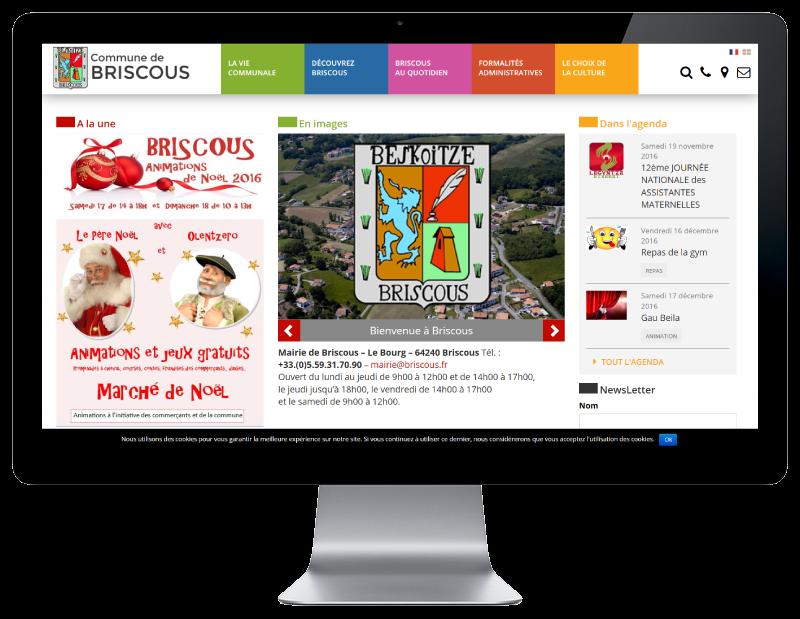 La ville de Briscous retient l'agence web REZO 21 Anglet pour la refonte de son site Internet, vue sur grand écran
