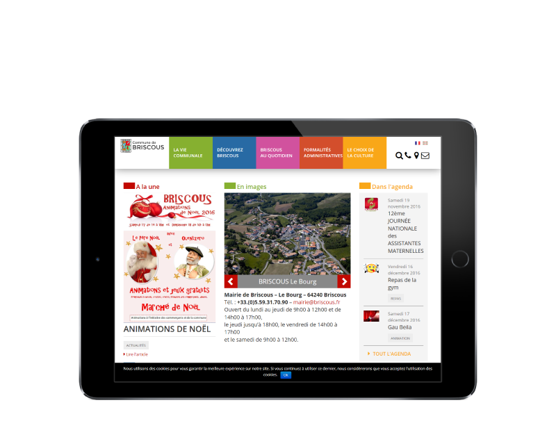 La ville de Briscous retient l'agence web REZO 21 Anglet pour la refonte de son site Internet, vue sur tablette