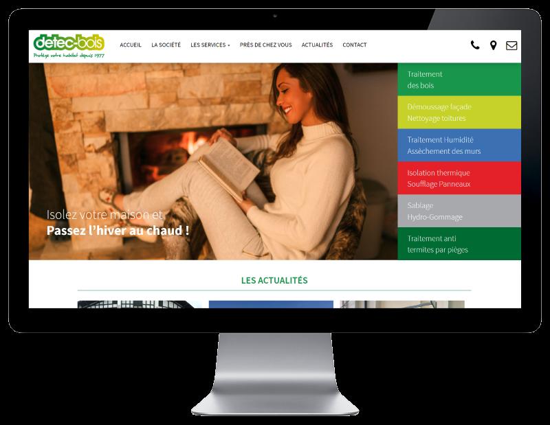 Détec-bois pays basque confie la refonte de son site Internet à l'agence web REZO 21 Anglet, vue sur grand écran