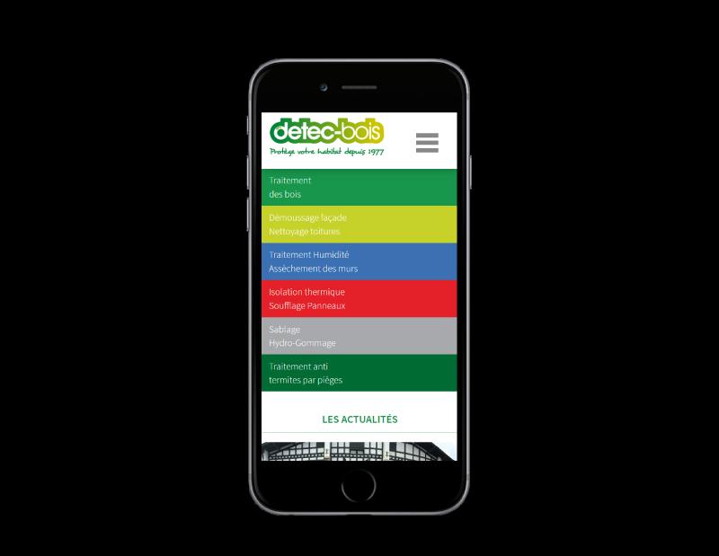 Détec-bois pays basque confie la refonte de son site Internet à l'agence web REZO 21 Anglet, vue sur mobile