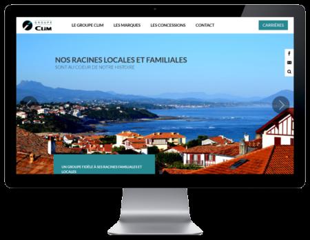 Le groupe Clim, concessions automobile sélectionne REZO 21 pour la création de son site Internet, vue sur grand écran
