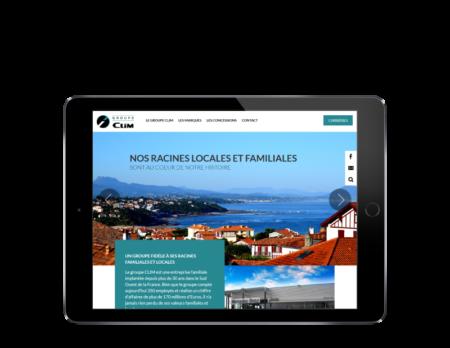 Le groupe Clim, concessions automobile sélectionne REZO 21 pour la création de son site Internet, vue sur tablette