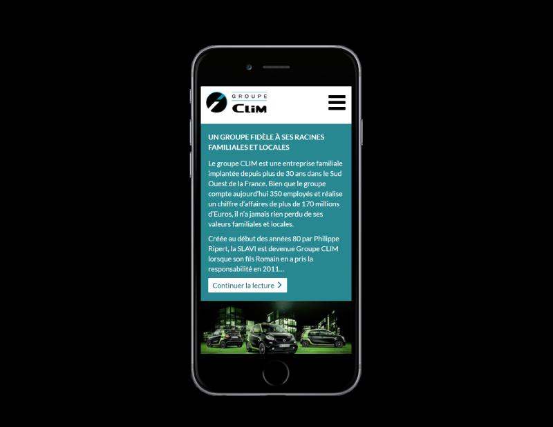 Le groupe Clim, concessions automobile sélectionne REZO 21 pour la création de son site Internet, vue sur mobile