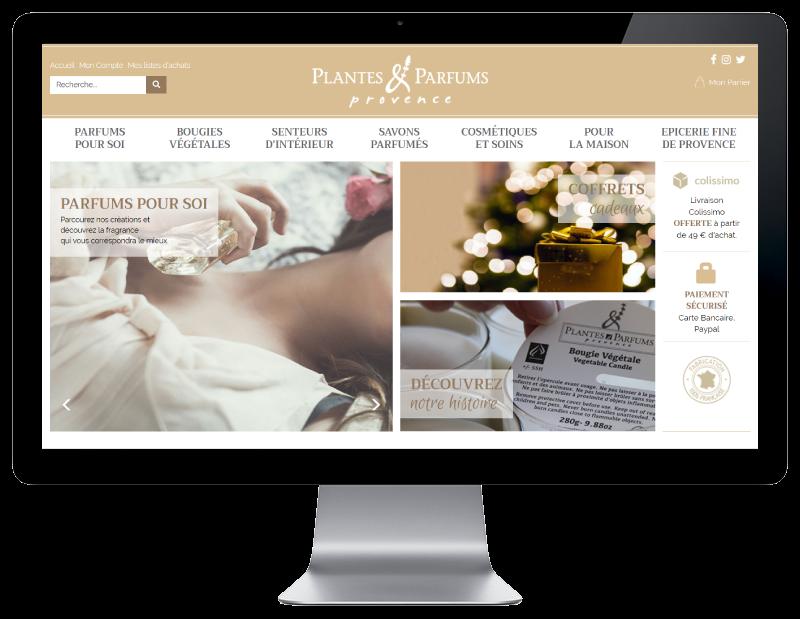 Plantes & Parfums de provence lance sa nouvelle boutique e-commerce avec l'agence web REZO 21 Anglet Pays Basque, sur grand écran
