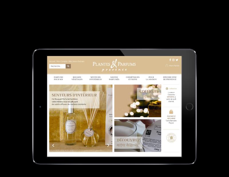 Plantes & Parfums de provence lance sa nouvelle boutique e-commerce avec l'agence web REZO 21 Anglet Pays Basque, vue sur tablette