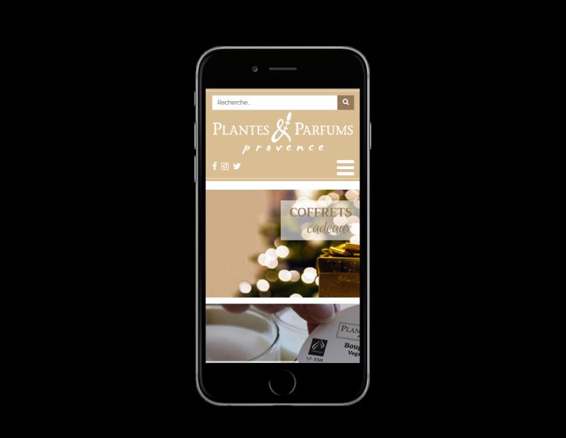Plantes & Parfums de provence lance sa nouvelle boutique e-commerce avec l'agence web REZO 21 Anglet Pays Basque, vue sur mobile