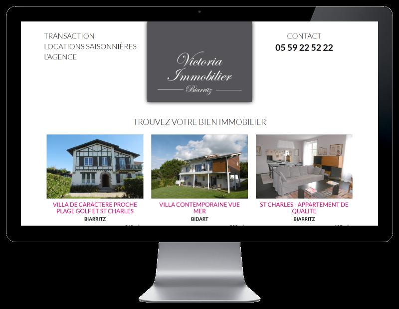 L'agence immobilière Victoria à Biarritz contacte l'agence web REZO 21, créateur de sites Internet à Anglet pour réaliser son nouveau site Internet, vue sur grand écran