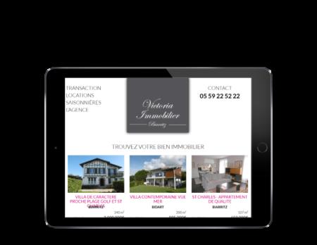 L'agence immobilière Victoria à Biarritz contacte l'agence web REZO 21, créateur de sites Internet à Anglet pour réaliser son nouveau site Internet, vue sur tablette