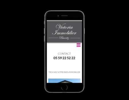 L'agence immobilière Victoria à Biarritz contacte l'agence web REZO 21, créateur de sites Internet à Anglet pour réaliser son nouveau site Internet, vue sur mobile