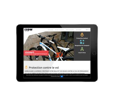 REZO 21, agence de création de sites Internet au Pays basque, réalise le site de IXOM, pièves détachées pour les vélos, vue sur tablette