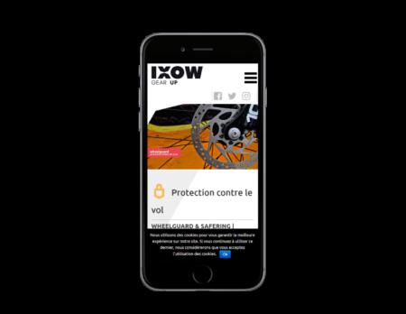REZO 21, agence de création de sites Internet au Pays basque, réalise le site de IXOM, pièves détachées pour les vélos, vue sur mobile