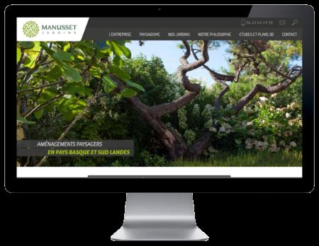 REZO 21, créateur de sites Internet à Anglet Pays Basque, créé le site de Manusset Jardins, vue sur grand écran