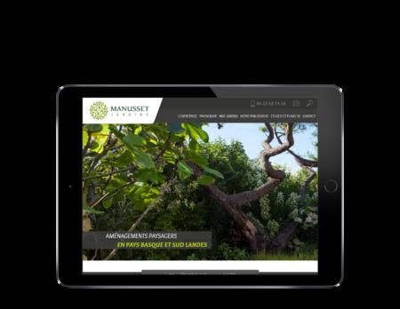 REZO 21, créateur de sites Internet à Anglet Pays Basque, créé le site de Manusset Jardins, vue sur tablette