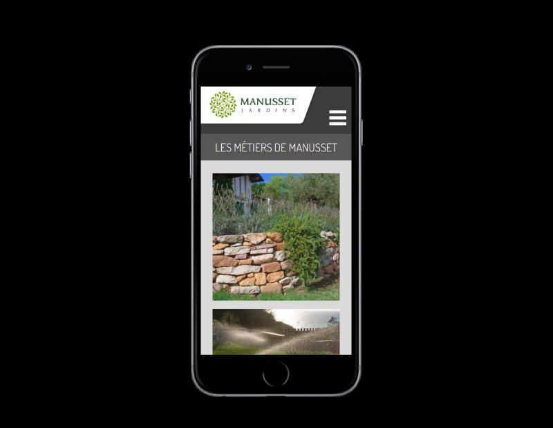 REZO 21, créateur de sites Internet à Anglet Pays Basque, créé le site de Manusset Jardins, vue sur mobile