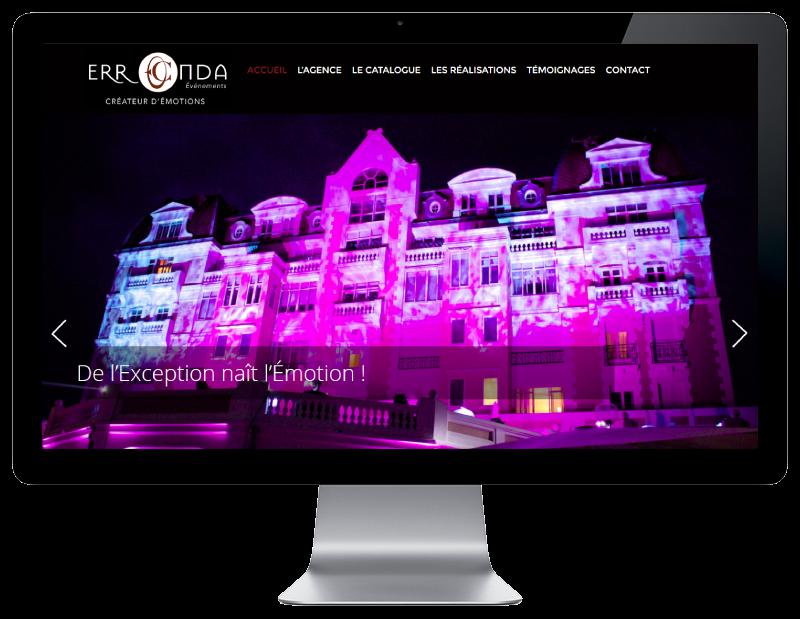 L'agence web REZO 21 réalise le site de l'agence Erronda Pro, vue sur grand écran