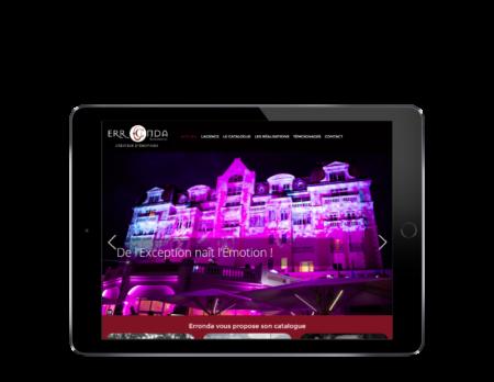 L'agence web REZO 21 réalise le site de l'agence Erronda Pro, vue sur tablette