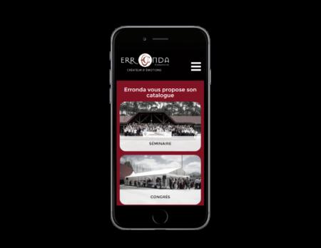 L'agence web REZO 21 réalise le site de l'agence Erronda Pro, vue sur mobile