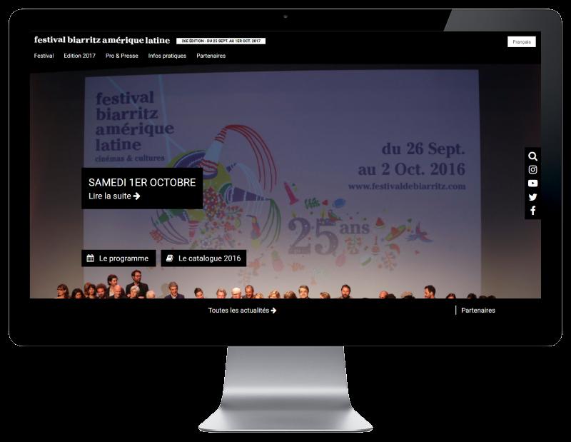 L'agence web REZO 21 Anglet réalise la refonte du site Internet du Festival de Biarritz Amérique latine, vue sur grand écran