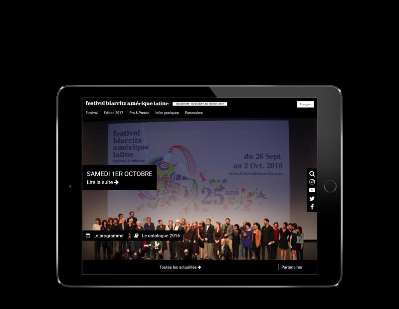 L'agence web REZO 21 Anglet réalise la refonte du site Internet du Festival de Biarritz Amérique latine, vue sur tablette