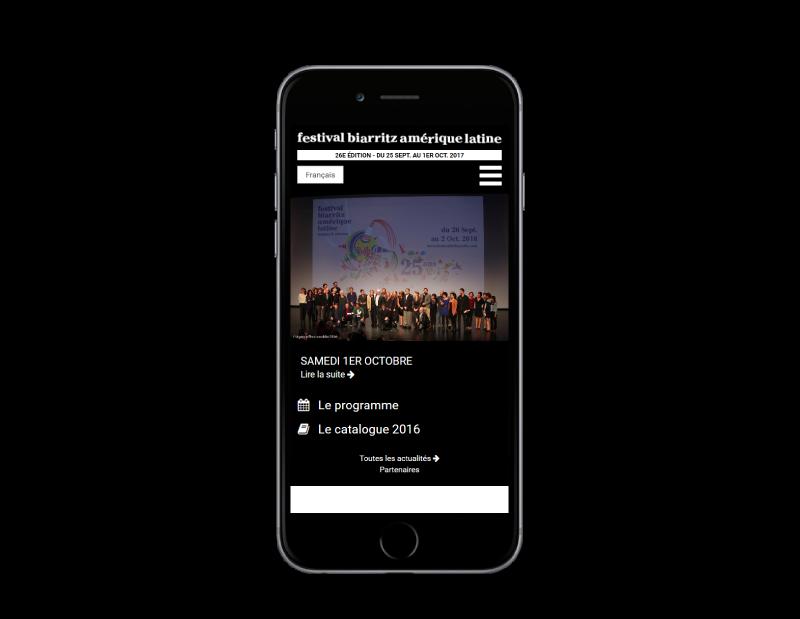 L'agence web REZO 21 Anglet réalise la refonte du site Internet du Festival de Biarritz Amérique latine, vue sur mobile
