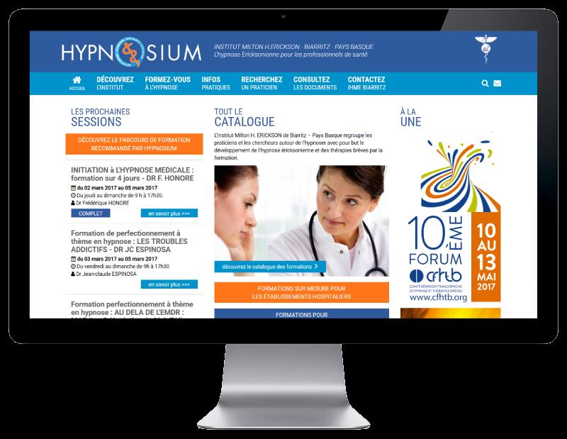 L'agence web REZO 21 Anglet réalise le site Hypnosium, centre de formation à Biarritz, sur grand écran
