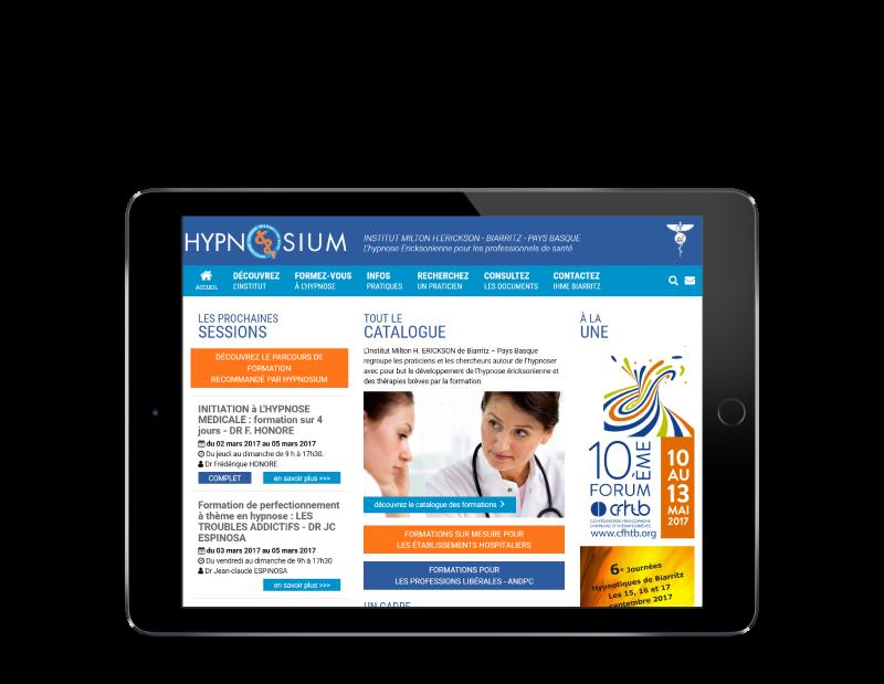 L'agence web REZO 21 Anglet réalise le site Hypnosium, centre de formation à Biarritz, sur tablette
