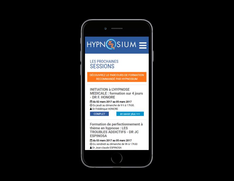 L'agence web REZO 21 Anglet réalise le site Hypnosium, centre de formation à Biarritz, sur mobile