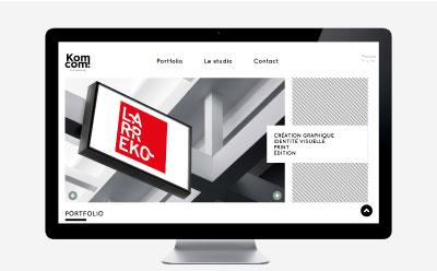 Le studio de création graphique Komcom choisit l'agence web REZO 21 pour intégrer son site sous WordPress