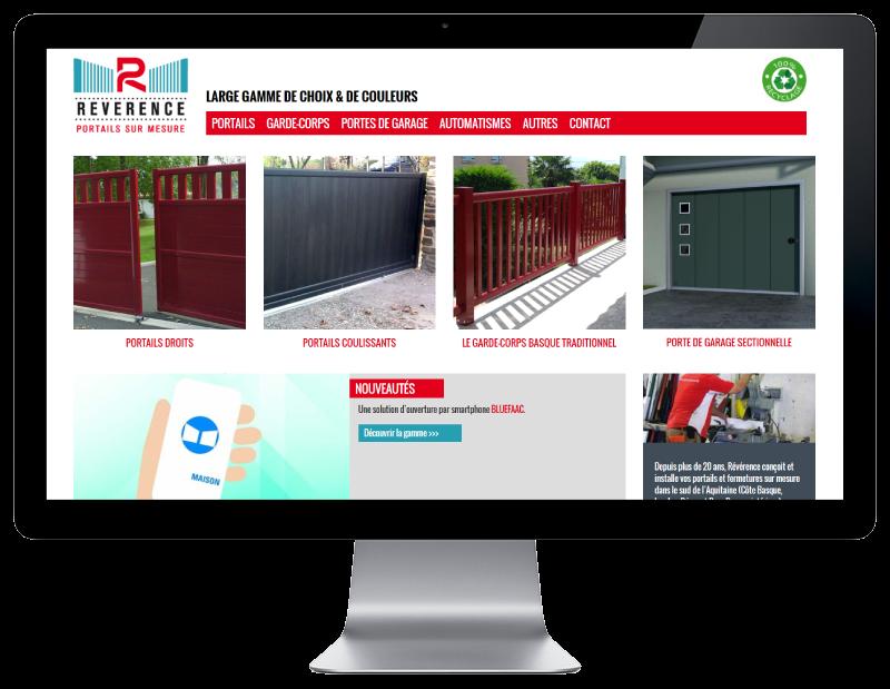 REZO 21, créateur de sites Internet au Pays basque développe le site de Révérence, portails et garde-corps alu à Anglet, sur grand écran