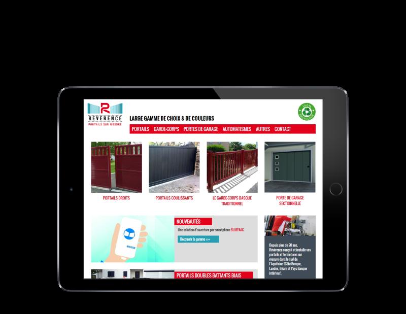 REZO 21, créateur de sites Internet au Pays basque développe le site de Révérence, portails et garde-corps alu à Anglet, sur tablette