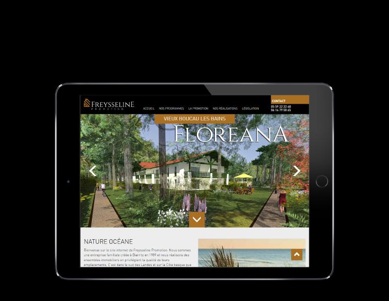 REZO 21, création de sites Internet à Anglet, réalise le site de Freysseline Promotion Pays Basque sur tablette