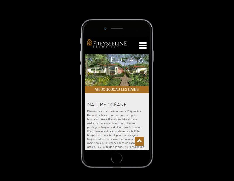 REZO 21, création de sites Internet à Anglet, réalise le site de Freysseline Promotion Pays Basque sur mobile