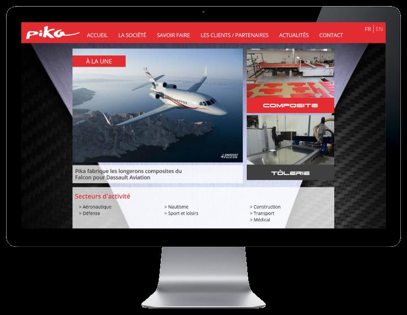 Pika composites Bayonne confie la création de son site à l'agence web REZO 21 d'Anglet, site web sur grand écran